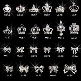 3d Crown Bowtie nail art gioielli design charms argento strass per manicure decorazione METALLO CORONA strass nail art Y ~ 55-84ML