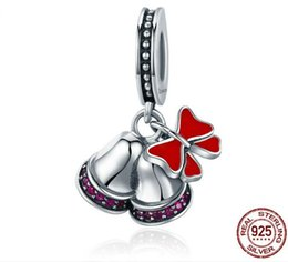 jingles bells UK - Authentic 925 Silver Christmas Bell and Red Bowknot Charms for Pan Style Bracelets,Jingling Bell Charms for Christmas Festival