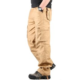 Discount black overall long pants - Wholesale-30-44 Plus size High Quality Men's Cargo Pants Casual Mens Pant Multi Pocket  Overall for Men Long Trousers