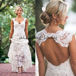 cheap rustic wedding dresses 2019 - Chic Rustic Full Lace Wedding Dresses Cheap V Neck Open Back Sweep Train Boho Garden Bridal Gown Custom Made Country ram