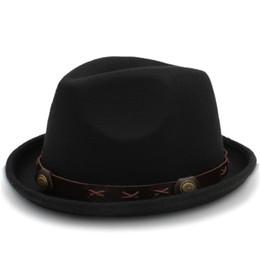 0e6a2ad8681 British Wool Jazz Cap Hat for Women Vintage Autuman Winter Ladies Fedora  Hats with Metal Belt Female Wide Brim Hats