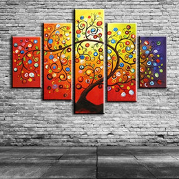 $enCountryForm.capitalKeyWord Australia - Hand painted Color Flower Oil Paintings on Canvas Handmade Palette Apples Tree Painting Modern Abstract Wall Art 5 Piece Picture Painting