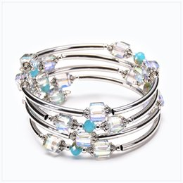 $enCountryForm.capitalKeyWord Australia - Natural Square Crystal Bracelet Twining Strands Geometric Multilayer Silver Plated Alloy Bracelet For Women Jewelry Accessories Wholesale