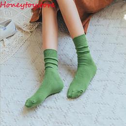 Needles Loose NZ - Japanese High School Girls High Socks Loose Solid Colors Double Needles Knitting Cotton Long Socks Women