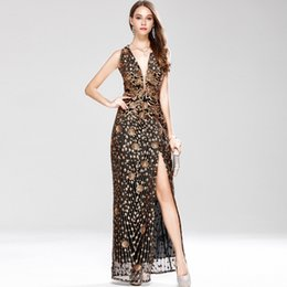$enCountryForm.capitalKeyWord UK - New Arrival Women's Sexy Low V Neck Sleeveless Cross Open Back Embroidery Sequined Prom Party Dresses Long Runway Dresses