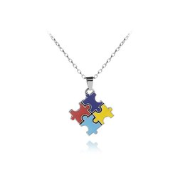 Chinese  Autism Awareness Jigsaw Cross Classic Square Colorful Enamel Red Blue Puzzle Matching Pendant Necklace Autistic Unisex Jewelry manufacturers