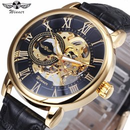 Oulm Classic Golden Skeleton Mechanical Watch Men Genuine Leather Strap Top Brand Luxury Man Watch Vip Drop Shipping Wholesale Mechanical Watches