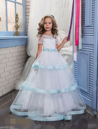 Birthday Shirts For Girls NZ - Pageant Kids Gown Light Blue Satin Edge Lace Flower Girl Dresses For Wedding Girl's Floor Length Child Party Birthday Dress 17flgB459