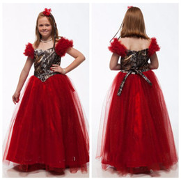 $enCountryForm.capitalKeyWord NZ - Off Shoulder Dark Red Camo Top Princess Flower Girls Dresses Floor Length Tulle Formal Kids Party Gowns For Wedding Wear Girl Pageant Gown