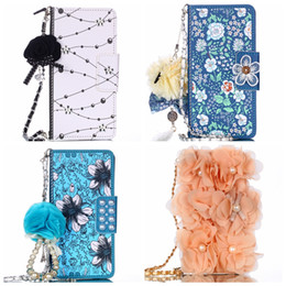 bling iphone flip cases Australia - 3D Flower Bead Leather Wallet Case For iPhone 11 XR XS MAX X 7 6 Galaxy 10 S10 S10e Note 9 8 S9 Pearl Bling Flip Phone Cover Slot Strap
