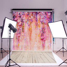 Discount purple flower canvas paintings - 600x900mm Purple Flower Tree DIY Kids Photography Backdrop Cloth Flower Wall Silk Poster Background For Photo Studio