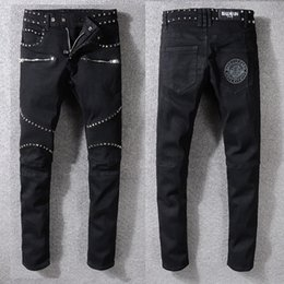 Discount top jeans brands - 2018 new fashion mens biker jeans famous brand design style ripped jeans men top quality plus size hot selling F354