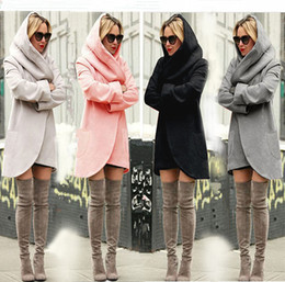 Wholesale 2018 Autumn Winter Ladies Pocket Hooded Long Jackets Women Woolen Warm Slim Coats Outwear Plus Size