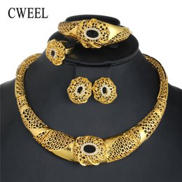 Jade Wedding Sets Australia - CWEEL Fashion Wedding Jewelry Sets For Women Turkish Silver Gold Color African Beads Jewelry Set Costume Jewellery Accessories