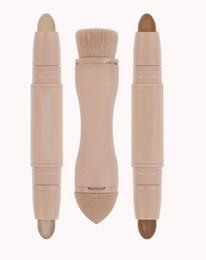 Wholesale Wholesale Beauty Contour Highlighter Sticks 2 in 1 double ended Cream Concealer Highlight Stick Makeup Set+Bronzed Puff Brush Supply Free Shiping