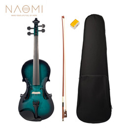 Bow rosin online shopping - NAOMI Acoustic Violin Violin Full Size Fiddle Case Bow Rosin Blue Black For Students Beginners Violin Accessories SET NEW