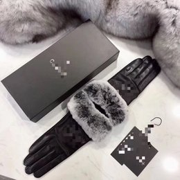 Leather glove female, rex rabbit fur mouth plus thick warm driving winter cycling driving gloves can touch screen on Sale