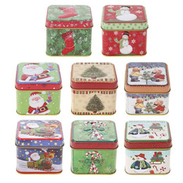 tin gift boxes packaging UK - Christmas Gift Cute Christmas Mini Gift Package Tin Box Candy Baking Cookies Biscuit Case Decorations for Home