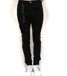 Skinny Legs Jeans Canada - men black stretch distressed skinny track stripes along leg jeans