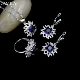 $enCountryForm.capitalKeyWord NZ - wholesale Silver 925 Bridal Jewelry Sets Blue And White CZ Wedding Decoration For Women Drop Earrings Pendant Ring Necklace