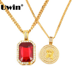 China Men's Iced Out Hip Hop Gold Red Rhinestones Square Pendant Cuban Chain Necklace Lab Simulated Mini Jesus Piece Pendant Necklace cheap jesus pieces chain suppliers