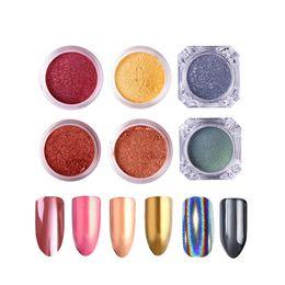 Discount powder pigments for nail art - 6 Box Set Mirror Powder Gold Silver Pigment Nail Glitter Nail Art Chrome Effect Magic Mirror Powder For Gel Polish #2841