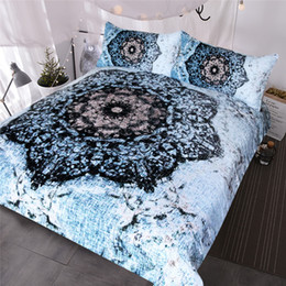 Mint green bedding sets online shopping - Mandala Bedding Set Black and Blue Duvet Cover Set Floral Printed Bed Cover for Adults Flower Bedclothes Double