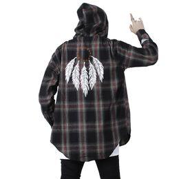$enCountryForm.capitalKeyWord UK - Color Block feather Plaid Long Sleeve Shirts Men Hip Hop Casua Button Up Shirts Coats Fashion Streetwear us size S-XL