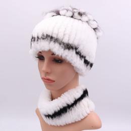 Rabbit Fur Scarves Caps NZ - Winter 100% Real Rex Rabbit Fur Women Hat Scarf Sets Comfortable Warm Vintage Fur Casual Female Ladies Caps Scarves New Arrival