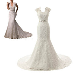 Chinese  Embroidery Lace Mermaid Court Wedding Dresses Bridal Gowns Cap Sleeves Mermaid Beading Belt Lace and Applique Design Sexy Wedding Gown manufacturers