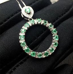 natural emerald pendants 2019 - emerald pendant natural Colombia emerald necklace pendant real 925 silver jewelry Valentine's Day gift cheap natural eme