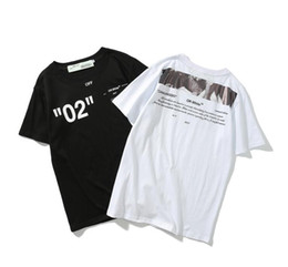 China High quality Mens Womens Brand Design Black White T Shirt Off Size M-XXL Crew Neck Cotton Tops Tshirt Embroidery Clothing suppliers