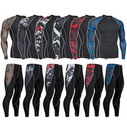 $enCountryForm.capitalKeyWord UK - Mens MMA Bodyshuits Underwear Body Shaper Long sleeve T Shirt And Slimming Pants Shapewear Male Fitness Clothes 3D Print
