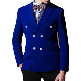 $enCountryForm.capitalKeyWord Canada - Royal Blue Wedding Groom Tuxedos 2018 Two Piece Blazer Double Breasted Custom Made Business Party Men Suits Jacket Black Pants