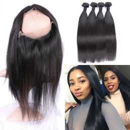 lace frontal closure brown 2019 - Straight Virgin Indian Human Hair With 360 Lace Frontal Closure Natural Black 4 Bundles With 360 Frontal cheap lace fron