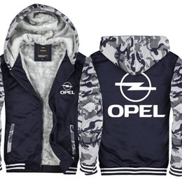 Camouflage Cars NZ - Camouflage Opel Car Logo Men and Women Velvet Thicken Sweatshirt Zipper Hoodies Winter Cardigan Jacket Coat Pullover USA EU size