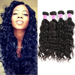 Big Curly Hair Weave Canada - Water Wave Hair Extensions Virgin Brazilian Hair Weave Weft Big Curly Unprocessed Remy Human Hair Bundles 4pcs lot Natural Color Dyeable