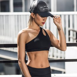Sexy Workouts Clothes Canada - 2018 Sexy One Shoulder Solid Sports Bra Women Fitness Yoga Bras Gym Padded Sport Top Athletic Underwear Workout Running Clothing