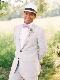 Ivory Linen Suit Canada - Beige Linen Costom Made Men Suit Wedding Tuxedos Suits Groom Wear Formal Business Blazer Prom street Evening Party 2 Piece Jacket+Pants
