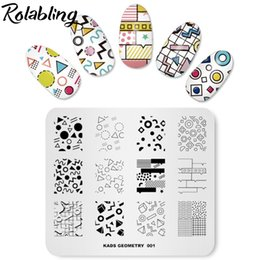 $enCountryForm.capitalKeyWord NZ - Rolabling Geometry-1 Pattern Rectangle Nail Stamp Image Plate Stamping Template Manicure Nail Art Image Plate Stencils