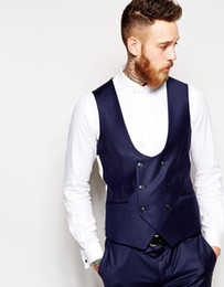 men waistcoat double 2019 - 2017 Vests Brand New Groom Vest Navy Groomsmensbest Man Custom Made Size And Color Double-breasted Weddingpromdinner Wai