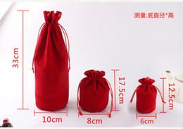 Cosmetic Bottle Bag Australia - High Quality Black Red Grey 10x33cm Round Bottom Cosmetic Velvet Pouch Big Drawstring Gift Bag Wine Bottle Packaging Bags