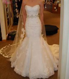 beaded rhinestone mermaid wedding dress 2019 - Luxury 2018 Crystals Rhinestones Lace Mermaid Wedding Dresses Sweetheart Corset Sweep Train Sleeveless Bridal Gowns With