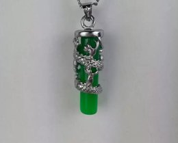 $enCountryForm.capitalKeyWord Australia - Free shipping green Jade pendant necklace Long Zhu pendant color retention plated silver jade dragon pillars wholesale C2