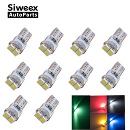 12v T5 Bulbs Canada - T5 LED Dashboard Instrument Indicator Light Speed Wedge 3528 LED 2SMD White Red Green Blue Yellow PC74 12V Car Lamp Bulb