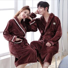d48a9a1ac1 Autumn winter flannel sexy cute lovers long sleeved Nightgown bathrobe  thickening warm men and women pajamas home clothes