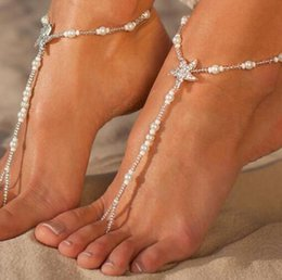 Anklet Toe Chain Australia - new Fashion Pearls Barefoot Beach Sandals For Weddings Crystals Starfish Anklets Chain Cheap Toe Ring Bridal Bridesmaid Foot Jewelry