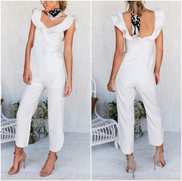 HigH waist romper online shopping - Regular Sexy Backless Off Shoulder Black Jumpsuit Women Tiered Ruffle High Waist Jumpsuit Romper Split Casual Overall Female