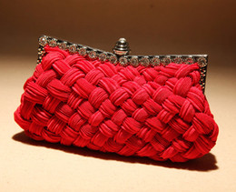 Knitted Chains NZ - Hot Bag Women Clutch Silk Handbag Elegant Female Evening Bag Knitting Evening Party Small Lady Clutch Bag with Chain