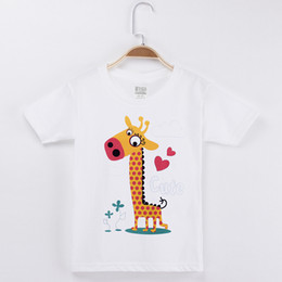 $enCountryForm.capitalKeyWord NZ - 2018 Hot Sale Kids T-shirt For Children Clothing Animals Giraffe Cartoon 100% Cotton Boys Short T Shirts Girls Clothes Tops Free Shipping